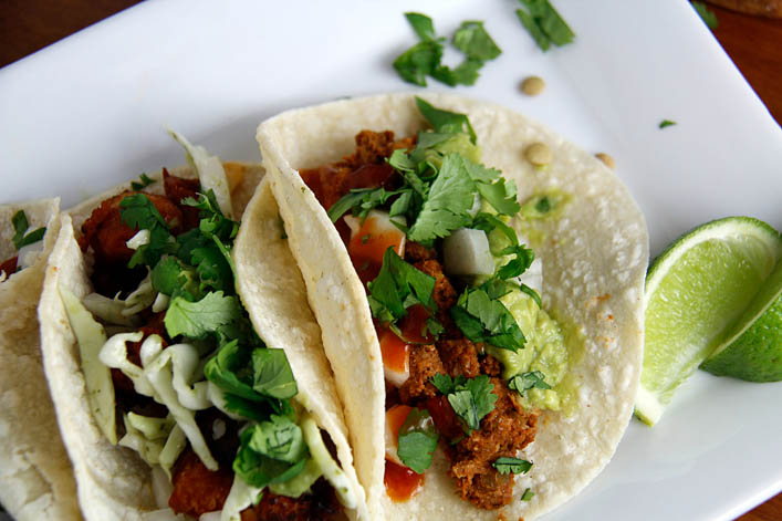 Vegan Tacos: Buffalo Cauliflower and Green Lentil