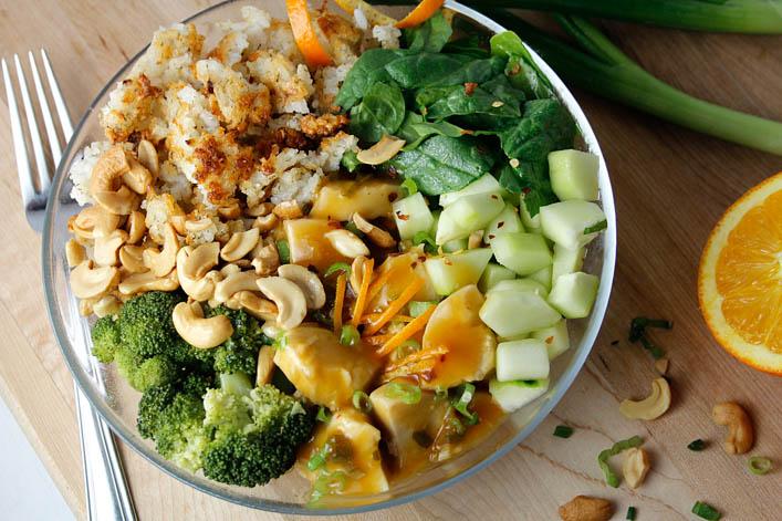 Orange Chicken Crispy Rice Salad